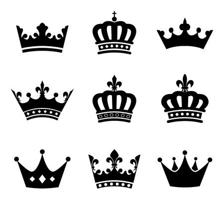 corona reina: Colección de la silueta de los símbolos de la corona Vectores