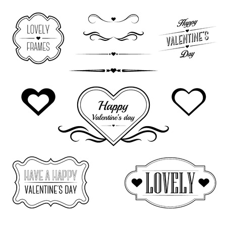 Set of decorative frames, sings and borders related to Valentine\\\\ Ilustração