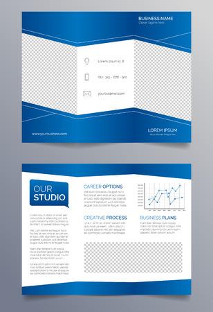 sleek: Business trifold brochure template - blue and white sleek modern design