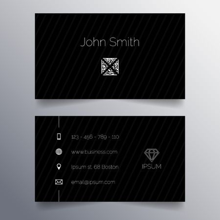 visit us: Business card template - black and white simple modern design