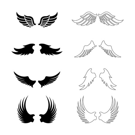 wings isolated: Set of vector wings - decorative design elements - black silhouettes