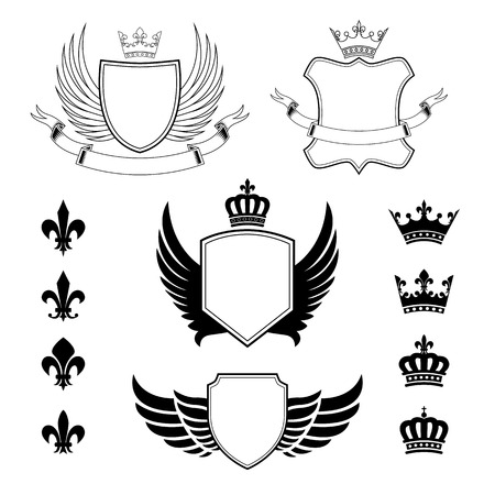 winged: Set of winged shields - coat of arms - heraldic design elements, fleur de lis and royal crowns Illustration