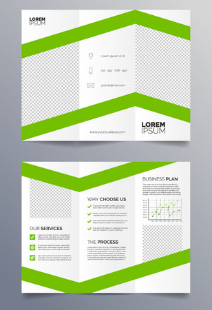 Business trifold brochure template - green and white sleek modern design