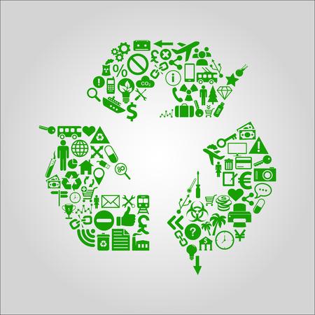 Recycling concept illustratie - verschillende media, technologie, milieu en industriële iconen gevormd tot een recycle symbool Stock Illustratie