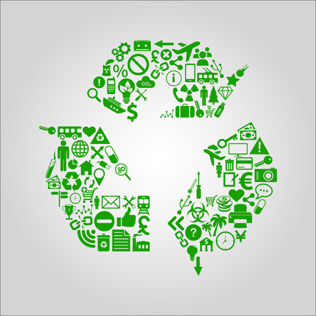 environmental issues: Recycling concept illustration - various media, technology, environment and industrial icons shaped into a recycle symbol