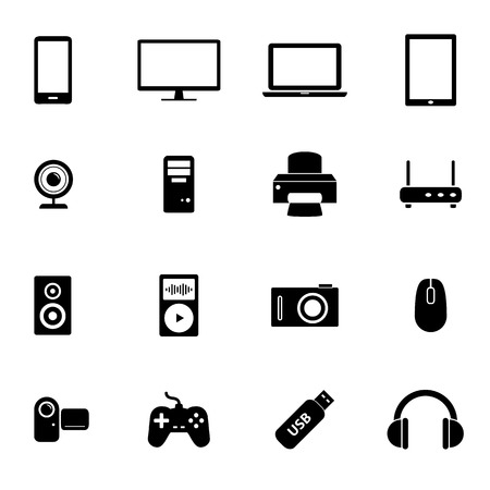 electronic devices: Set of black flat icons - PC hardware, computer parts and electronic devices