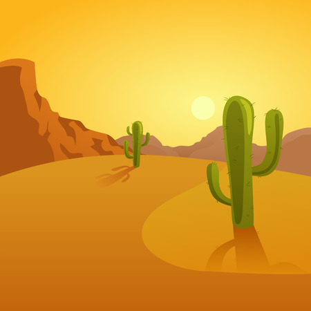 desert sunset: Cartoon illustration of a desert background with cactuses