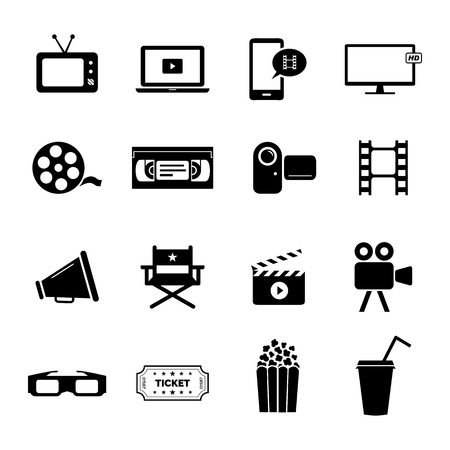 icon: Set of black flat icons related to cinema, films and movie industry