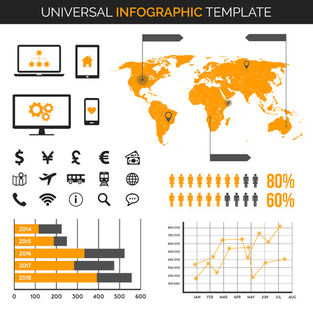 demography: Infographic template with map, charts and icons - travel, demography and much more