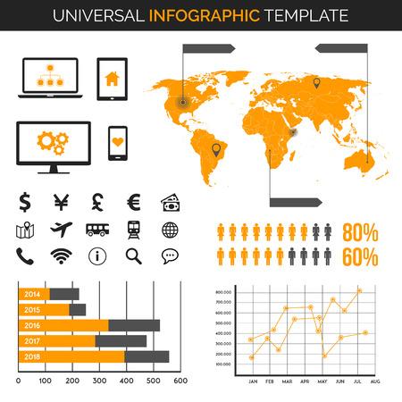 demografia: Plantilla Infografía con el mapa, gráficos e iconos - viajes, demografía y mucho más