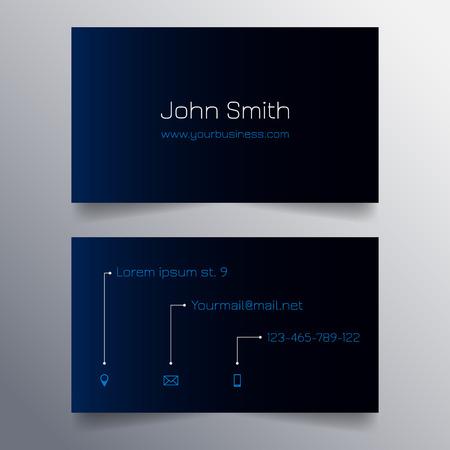 sleek: Business card template - modern blue and black sleek design