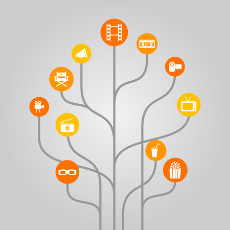 film industry: Abstract icon tree illustration concept related to movie, film industry, video recording and cinema