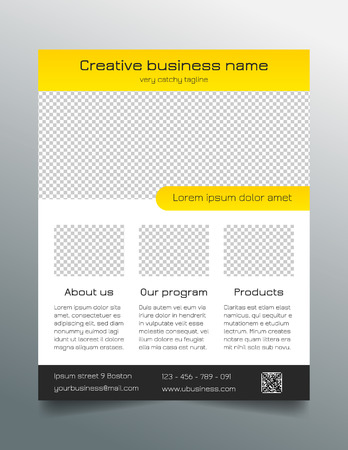 sleek: Business flyer template - modern sleek design in yellow and grey Illustration