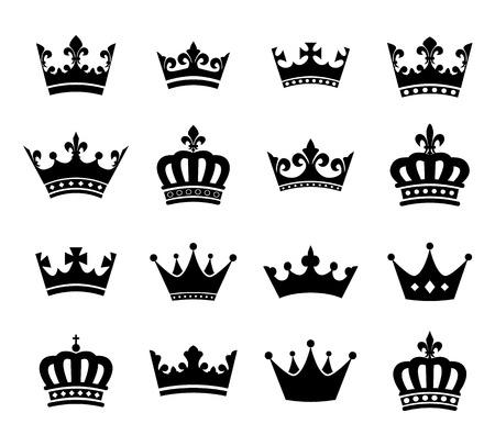 corona real: Colección de la corona silueta símbolos vol.2 Vectores