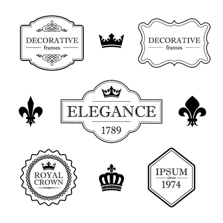 devider: Set of calligraphic flourish design elements - fleur de lis, crowns, frames and borders - decorative vintage style Illustration