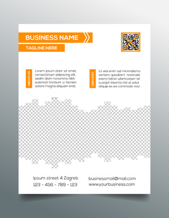 sleek: Business flyer template - sleek modern minimalistic design in orange Illustration