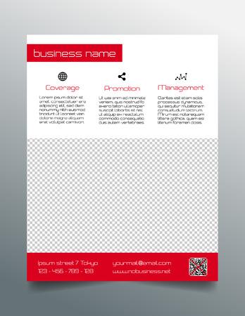 Business flyer design - simple red minimalistic style Çizim
