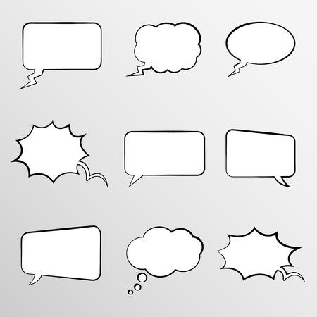 burbujas de pensamiento: Conjunto de burbujas de pensamiento de estilo comic Vectores