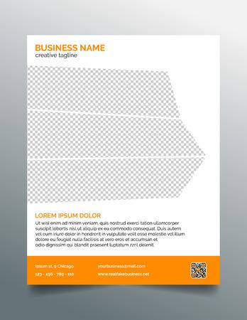 Business flyer template - stylish orange design Çizim