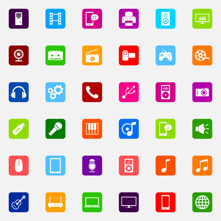 media icons: Set of colorful flat media icons