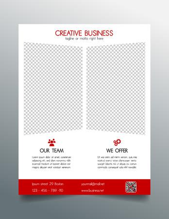 sleek: Creative business flyer template - red sleek simple modern design Illustration