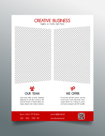 Creative business flyer template - red sleek simple modern design Çizim
