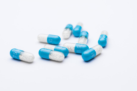 Blue pill capsules isolated