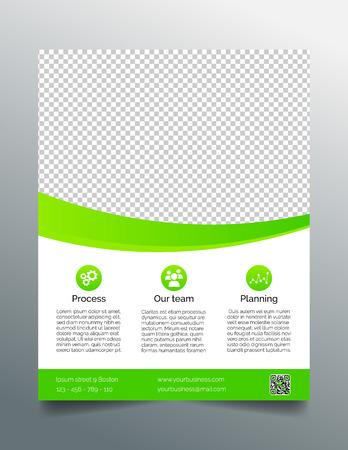 Zakelijke flyer template eenvoudig glad ontwerp in heldergroen Stock Illustratie