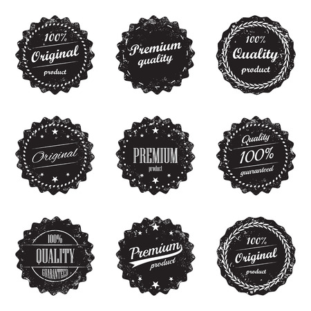 Collection of vintage product labels and signs  premium quality and top product