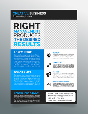 Clean Modern Business Flyer Template In Purple White Design Royalty