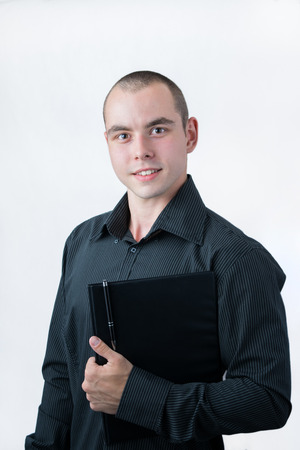 Business man holding papers