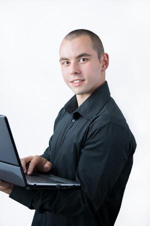 Man browsing internet on his laptop