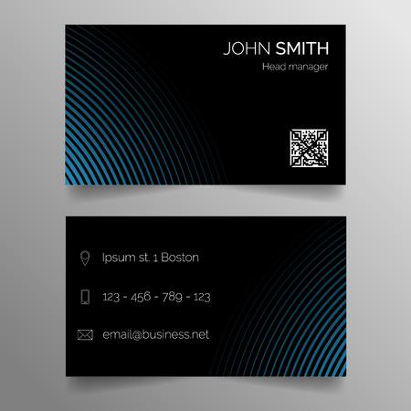 Business card template - modern abstract dark blue design Çizim