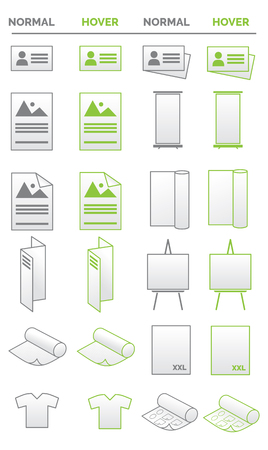 Collection of icons - media, promotion, business and print related Ilustração