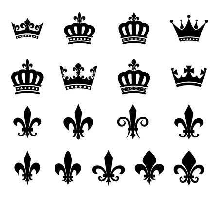 crowns: Set of crown and fleur de lis design elements - silhouettes