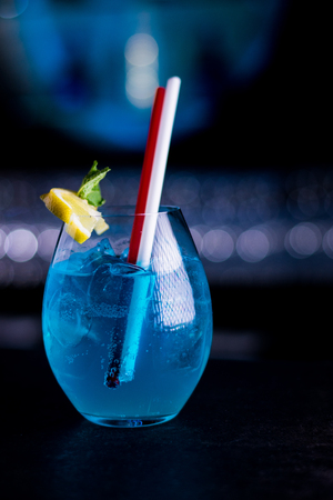alcoholic drink: Blue summer alcoholic drink Stock Photo