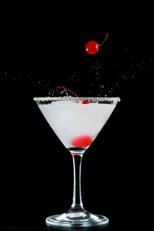 Stylish cocktail with cherry