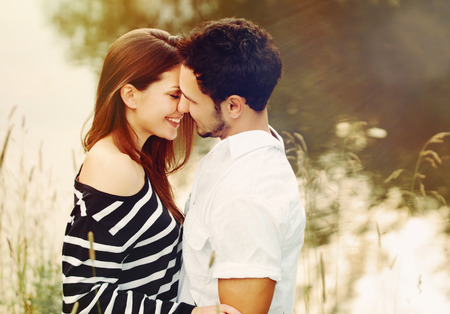 happy romantic sensual couple in love together outdoors on summer vacation Zdjęcie Seryjne
