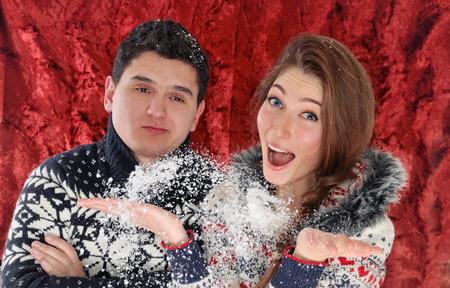 happy young couple enjoying christmas time photo