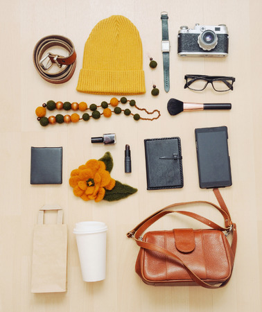 fashion set of accessories and stuff for the fall, fashion concept