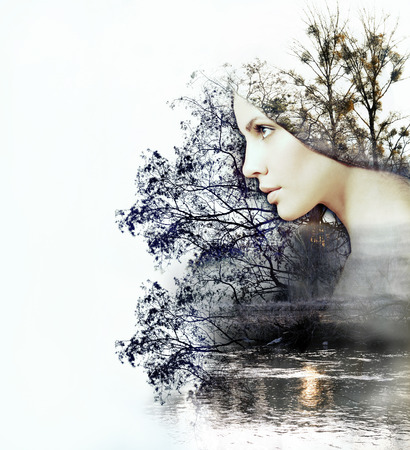 strong: abstract double exposure of woman and beauty of nature at the sunset on the river, abstract concept
