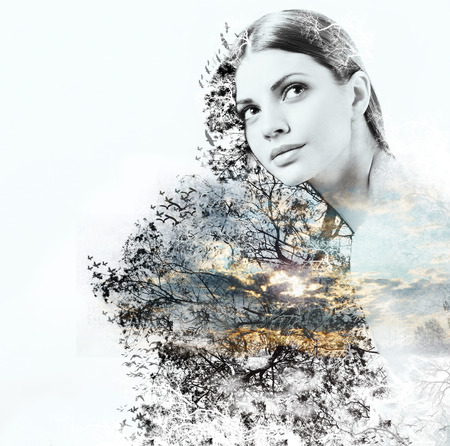 double exposure of attractive woman and beauty of nature, abstract concept