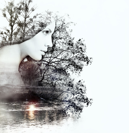 the double: abstract double exposure of woman and beauty of nature at the sunset on the river, abstract concept