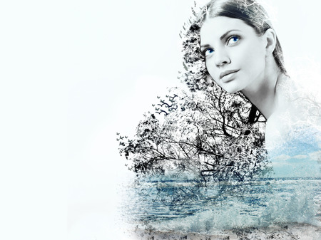 abstract double exposure of woman and waves of the ocean, abstract concept Foto de archivo