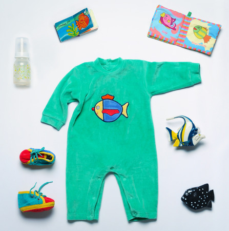 top view set of fashion trendy stuff and toys for newborn baby, baby fashion concept Zdjęcie Seryjne