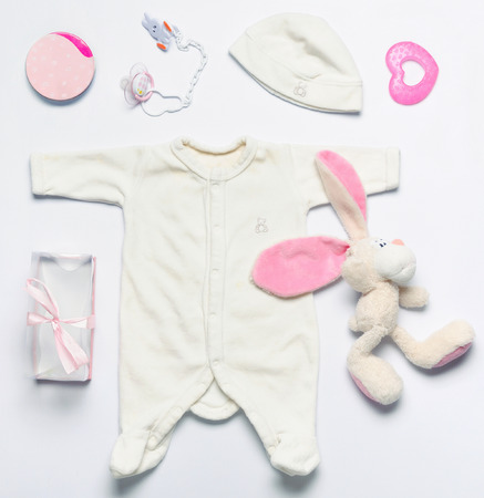top view set of fashion trendy stuff and toys for newborn baby girl, baby fashion concept