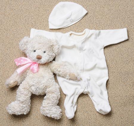 top view set of fashion trendy stuff for newborn baby, baby fashion concept Foto de archivo