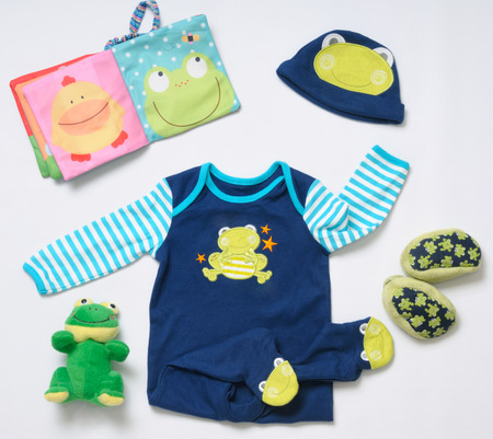 top view fashion trendy look of baby clothes and toy stuff, baby fashion concept Stock Photo