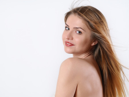 sensitive skin: fashion spa portrait of beautiful young blonde woman with perfect makeup and sensitive skin on white background, spa beauty concept