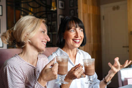 Two happy mature smiling women chatting while having lunch in cafe. Leisure concept of mature people